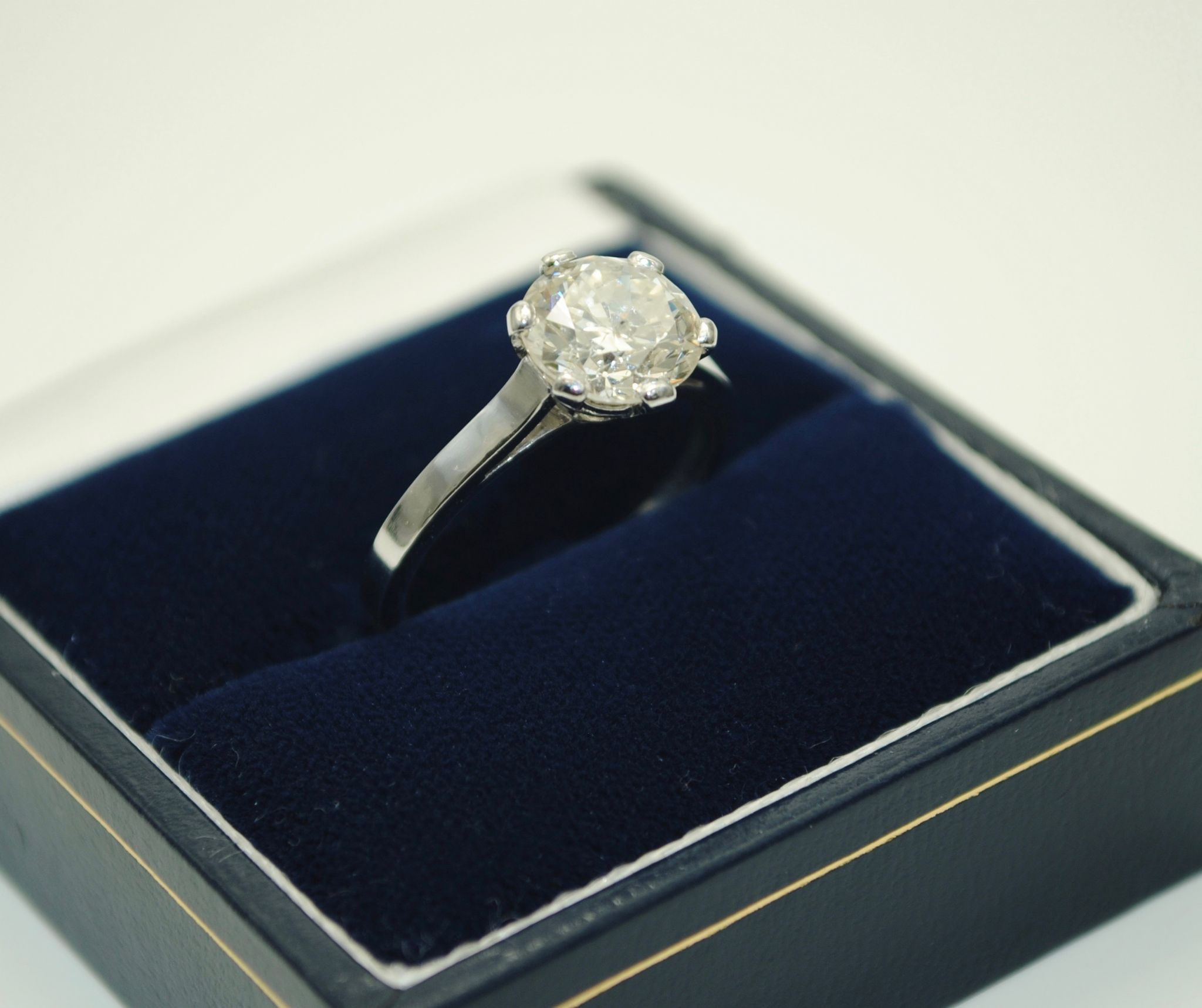 French Platinum 1 97ct Diamond Solitaire Ring UK Size L US Size 6